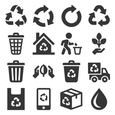 Garbage and Recycling Related Icons Set on White Background. Vector