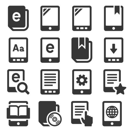 E-book Reader Icons Set on White Background. Vector
