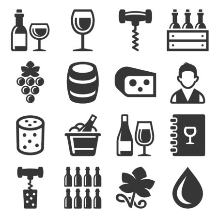Wine Icons Set on White Background. Vector illustration