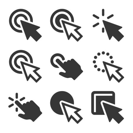 Click Icons Set on White Background. Vector illustration Ilustrace