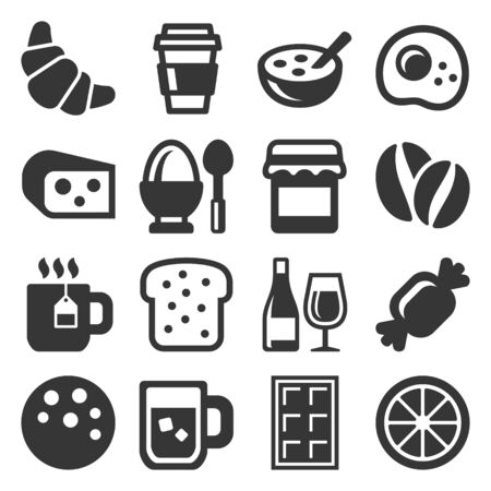 Breakfast Icons Set on White Background. Vector