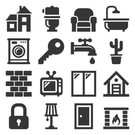 House Icons Set on White Background. Vector Illusztráció