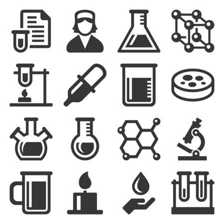 Chemical Icons Set on White Background. Vector Векторная Иллюстрация