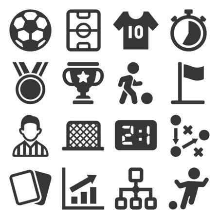 Soccer Icons Set on White Background. Vector Ilustrace