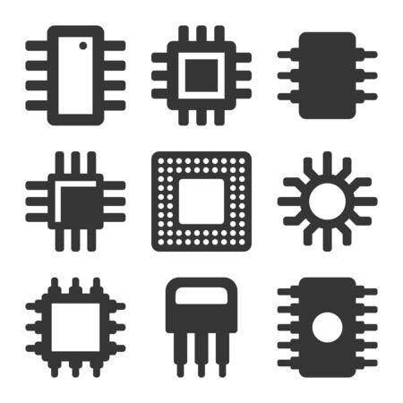 Jeu d'icônes de puce de processeur d'ordinateur électronique. Vecteur Vecteurs