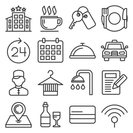 Hotel Room Service Related Icon Set. Line Style Vector