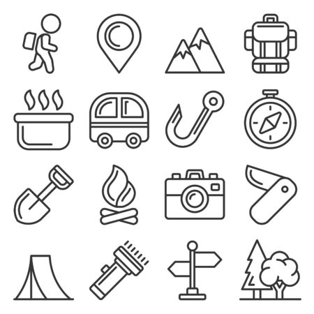 Camping Icons Set on White Background. Line Style Vector Illustration