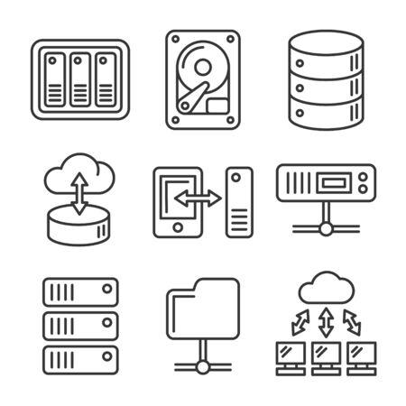 Partage de fichiers en réseau et ensemble d'icônes de serveur NAS. Vecteur de style de ligne