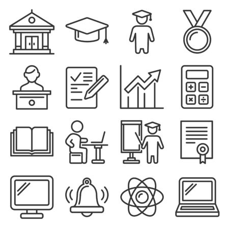Education Icons. College and School Study Set. Line Style Vector illustration