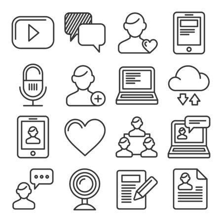 Media and Blog Icons set on White Background. Vector illustration Illustration
