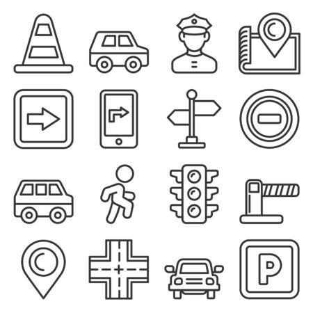 Traffico automobilistico e icone di guida impostate su sfondo bianco. Illustrazione di vettore di stile di linea