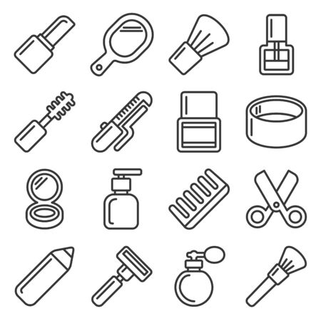 Beauty and Cosmetic Icons Set on White Background. Line Style Vector