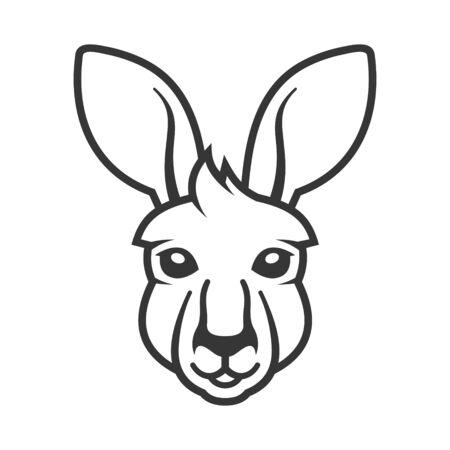 Kangaroo Head Icon. White Background. Vector  イラスト・ベクター素材