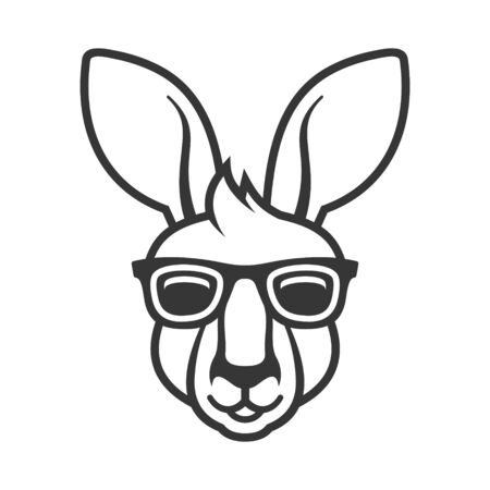 Kangaroo Head in Sunglasses Icon. White Background. Vector  イラスト・ベクター素材