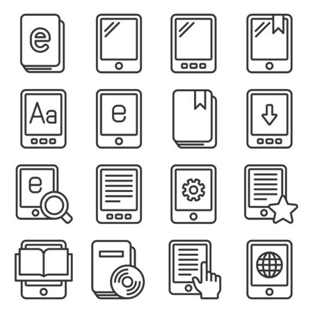 E-book Reader Icons Set on White Background. Line Style Vector Ilustrace