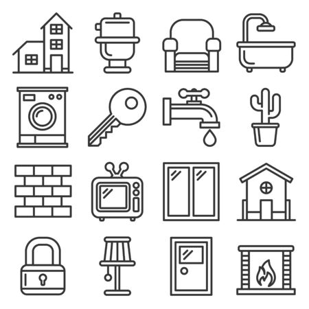 House Icons Set on White Background. Line Style Vector