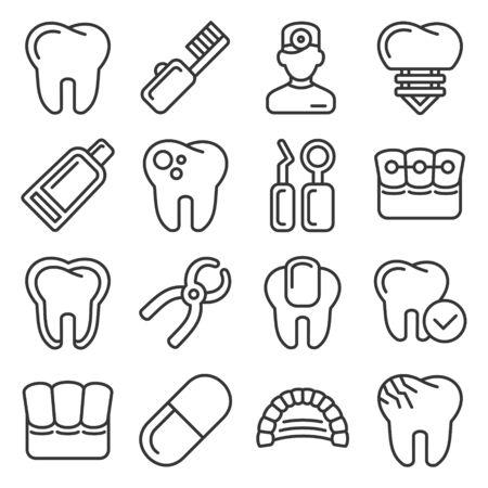 Zahnmedizinische Symbole auf weißem Hintergrund. Linienstil Vektor