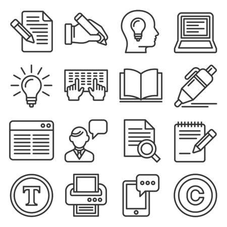 Copywriting Icons Set on White Background. Line Style Vector