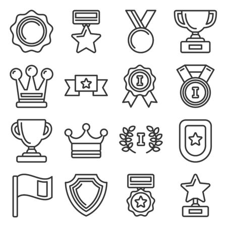 Awards and Trophy Icons Set. Line Style Vector Illusztráció