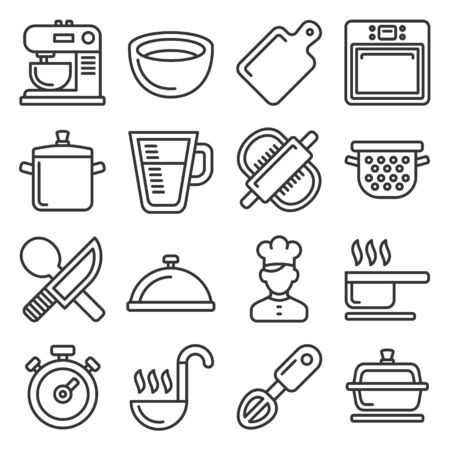 Cooking Icons Set on White Background. Line Style Vector illustration