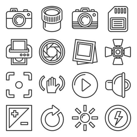 Camera Accessories and Photography Icons Set. Line Style Vector 向量圖像