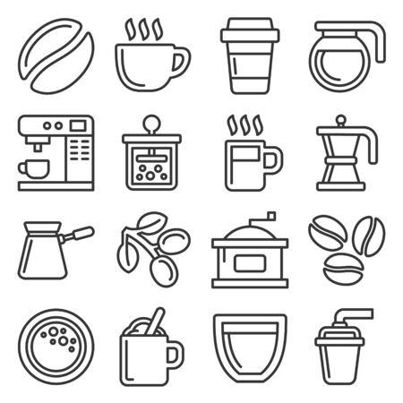Coffee Icons Set on White