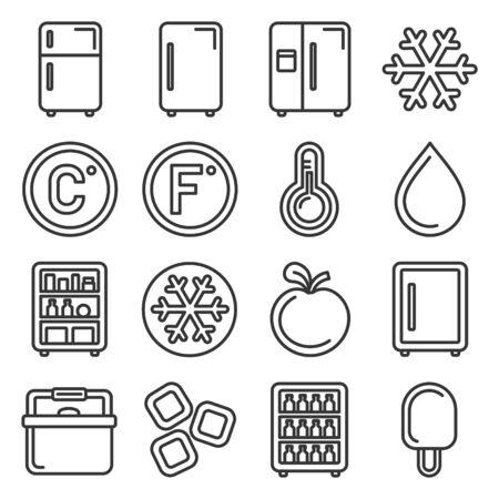 Refrigerator Icons Set on White Background. Line Style Vector illustration