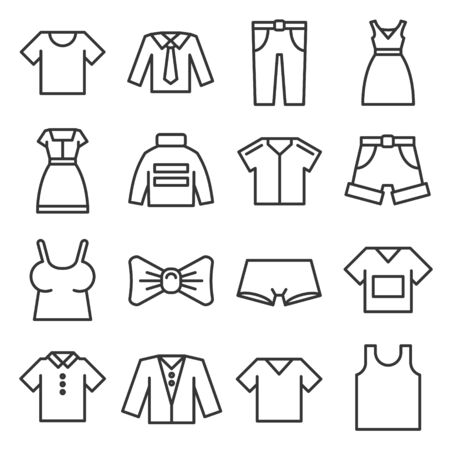 Clothing Icons Set on White Background. Line Style Vector illustration