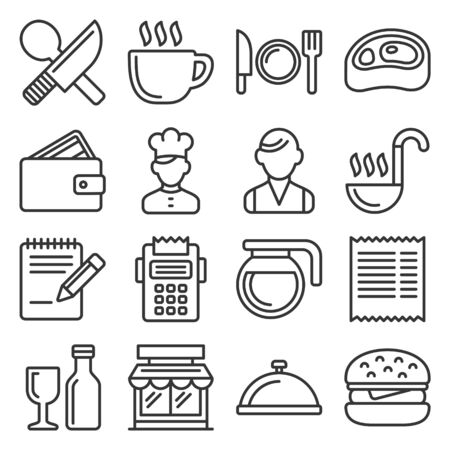 Restaurant , Cooking and Kitchen Icons Set. Line Style Vector illustration