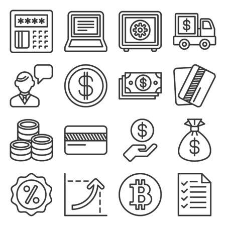 Money icon set on White Background. Line Style Vector