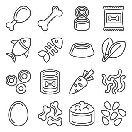 Pet Food Icons Set on White Background. Line Style Vector illustration Çizim