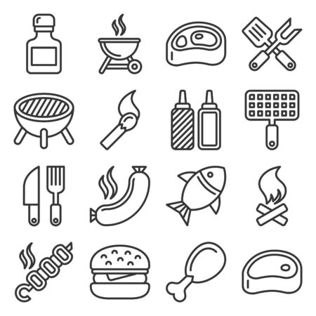 BBQ and Grilling Icons Set. Line Style Vector illustration Ilustracja