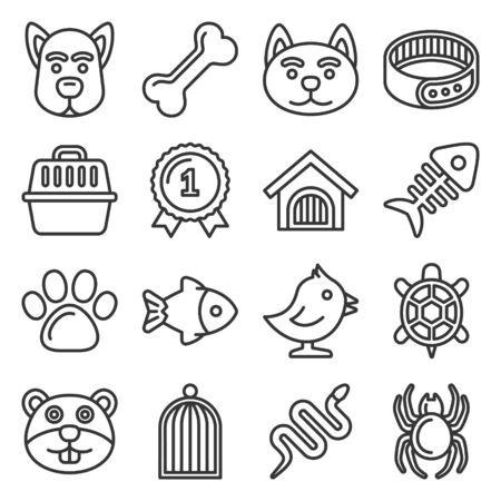 Animaux de compagnie Icons Set sur fond blanc. Illustration vectorielle de style de ligne