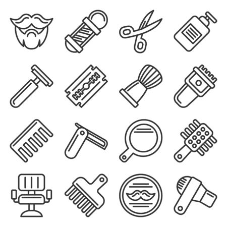 Barber Shop Icons Set on White Background. Line Style Vector