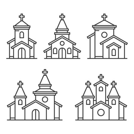 Church Building Icons Set on White Background. Line Style Vector