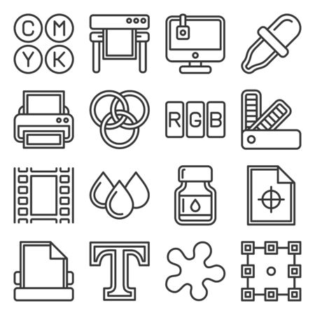 Printing Icons Set on White Background. Line Style Vector illustration Vettoriali