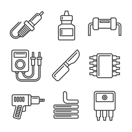 Solder Icons Set on White Background. Line Style Vector