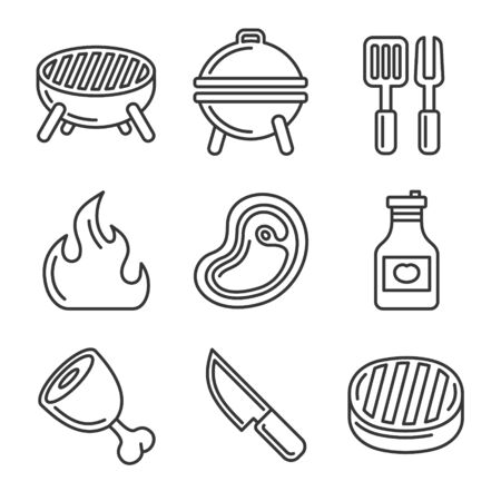 Grill and Barbecue Icons Set. Line Style Vector