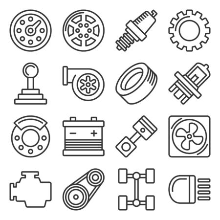 Car Parts Icons Set on White Background. Line Style Vector Illustration