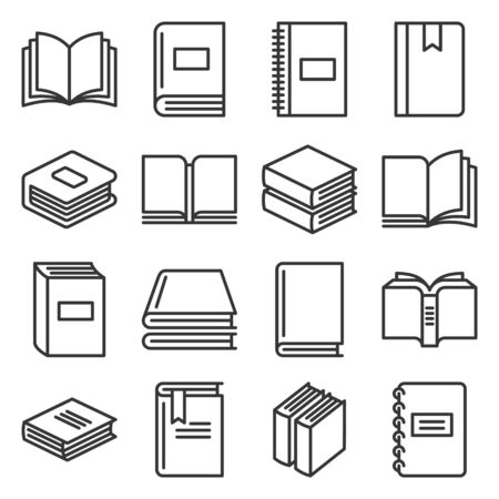 Book Icons Set on White Background. Line Style Vector