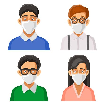 People Avatars with Protective Masks Set. Prevention of Coronavirus Infection. Vector illustration