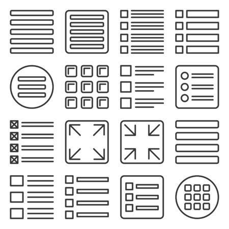 Menu Icons Set on White Background. Line Style Vector illustration