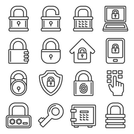 Lock Icons Set on White Background. Line Style Vector illustration 向量圖像