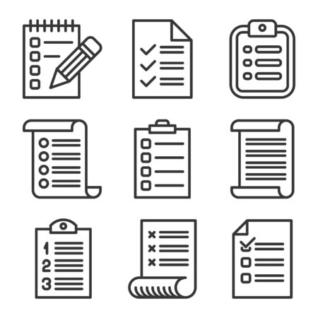 Check List Icons set on White Background. Line Style Vector Vecteurs