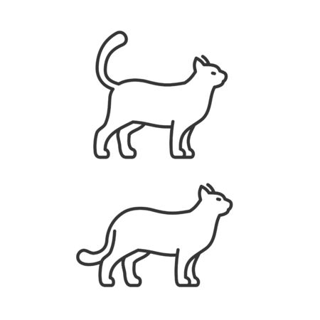 Walking Cat Icons on White Background. Line Style Vector