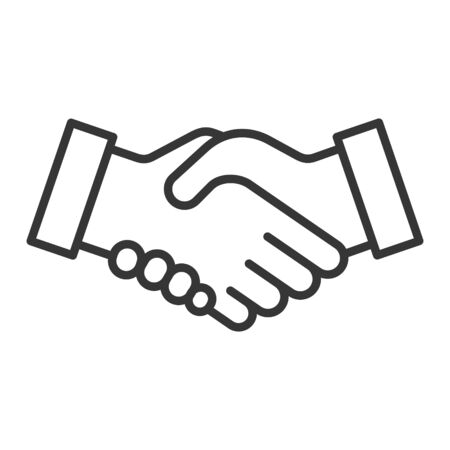 Handshake Icon on White Background. Line Style Vector  イラスト・ベクター素材