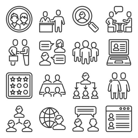 Clients and Business People Icons Set. Line Style Vector
