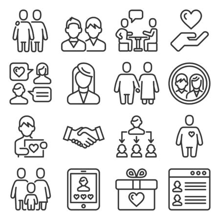 Friendship and Love Relationship Icons Set. Line Style Vector