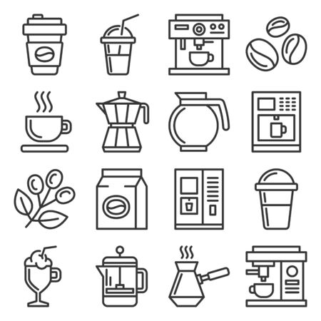 Coffee Icons Set on White Background. Line Style Vector illustration