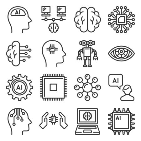Artificial Intelligence Icons Set. AI Robot Line Style Vector